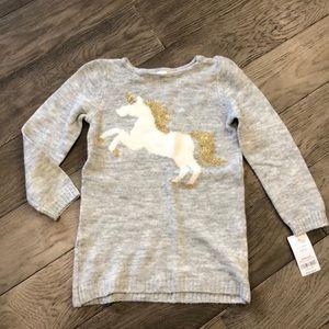 Girls gray unicorn sweater, NWT, size 4/5